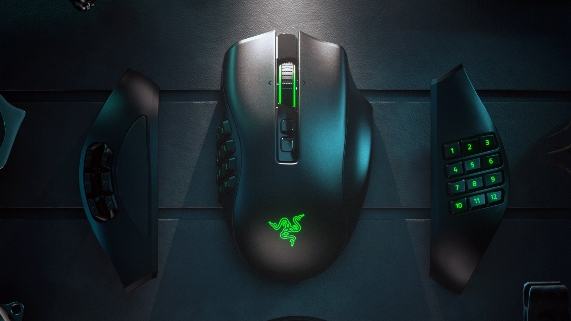 Gaming, Spiele, Games, Shooter, Mmorpg, Mmo, Maus, Razer, kabellos, Wireless, modular, MOBA, FPS, Optischer Sensor, Seitenteile, Razer Naga Pro, Gaming-Mouse, 3-in-1