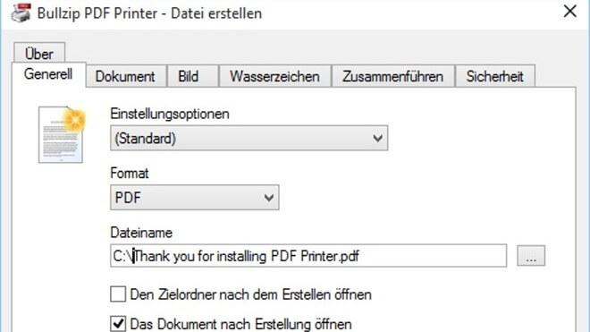 BullZip PDF Printer - PDF-Dateien erstellen Download
