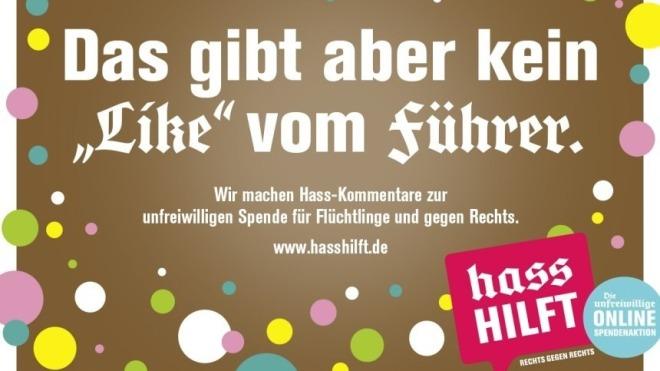 """rechts gegen rechts: """"hass hilft"""" spendet 1 euro pro hetz"""