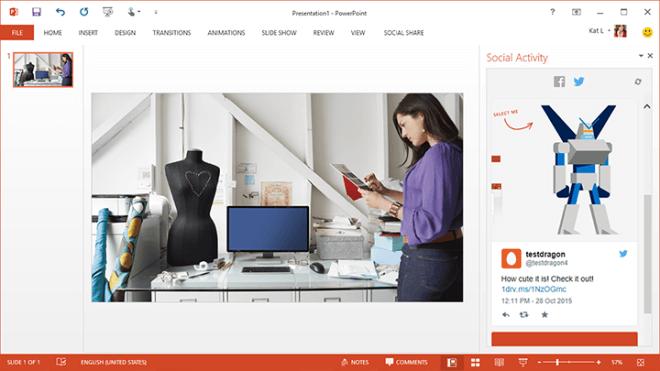 Microsoft, Office, Powerpoint, Microsoft Garage, Teilen, Social Share  Bildquelle: Microsoft