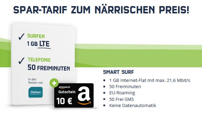 22ac1531c4ac03 Tipp: Smart Surf LTE-Tarif für nur 3,99 Euro inkl. Amazon-Gutschein ...