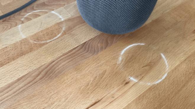Homepod macht weiße Ringe auf Holzmöbeln