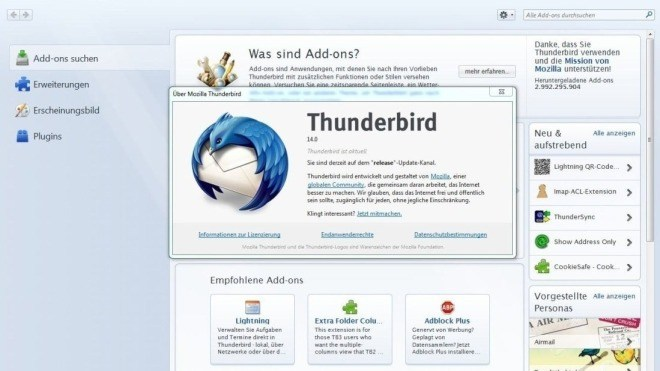 alte thnderbird mails finden